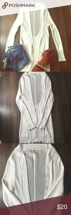 NWT Roxy Cardi Long Roxy cardigan, falls near the knees, white/cream crochet. Super fashionable for fall. Bought from another posher but doesn't fit me. Like new! Roxy Sweaters Cardigans