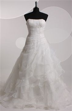 Chapel Train Strapless A-line Sleeveless Wedding #Gowns Style Code: 06500 $214