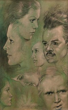 "Austin Osman Spare, British 1886-1956- ""Galaxy""; pencil with green pastel, signed, titled and dated 1932. Sold by Roseberys London www.roseberys.co.uk #AustinOsmanSpare"