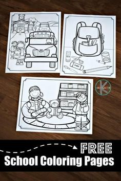 FREE Printable school coloring pages for toddler, preschool, prek, kindergarten, and first grade kids Preschool Jobs, Preschool First Day, First Day Of School Activities, 1st Day Of School, Free Preschool, Toddler Preschool, Morning Activities, Kindergarten Morning Work, Beginning Of Kindergarten