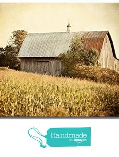 Rustic Barn Landscape Photograph - 'Harvest Barn' - Country Home Decor in Gold Yellow Brown Rust - Western Pennsylvania Barn Print. from Lisa Russo Fine Art Photography