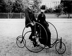 Henry Dacre composed an immensely popular song in 1892 featuring a tandem bicycle. The Daisy described is said to be about the Countess of Warwick, Frances Evelyn 'Daisy' Greville. Daisy was a champion of women's rights, and also a mistress of the Prince of Wales.  Daisy Daisy,  Give me your answer do!  I'm half crazy,  All for the love of you!  It won't be a stylish marriage,  I can't afford a carriage,  But you'll look sweet on the seat  Of a bicycle built for two !