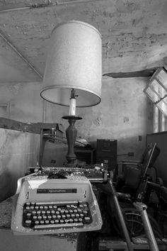 Lamp And Typewriter - Photo of the Abandoned Broadacres Hospital Abandoned Buildings, Abandoned Places, Hanging Pictures, Typewriter, Old Houses, Table Lamp, Lighting, Architecture, Photography