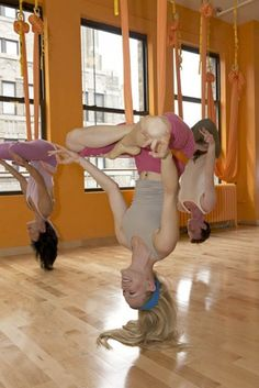 Hanging Yoga! I sooo want to do this!  I think this would be great for my back!!