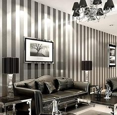 LXPAGTZ Simple modern nonwoven wallpaper bedroom living room black and white vertical stripes blue Eastern Mediterranean wall wallpaper long 10m* wide 0.53m (5.3 m ²) , 11083 white silver: Amazon.co.uk: DIY & Tools
