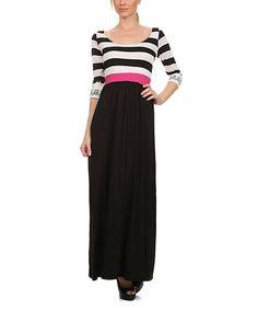 Look what I found on #zulily! Black & White Stripe Lace-Cuff Maxi Dress #zulilyfinds