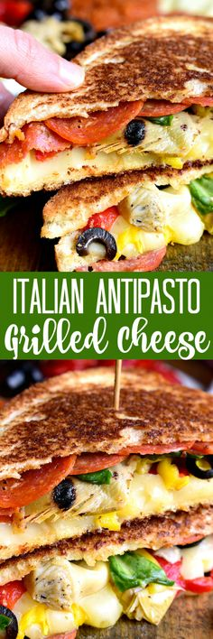 Italian Antipasto Grilled Cheese Sandwiches - loaded with pepperoni, cheese, artichokes, olives, roasted red peppers, and more! A fun and delicious twist on grilled cheese!