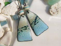 Sky Blue Enamel Earrings Earthy Rock Triangles by Gasquetgirl