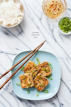 Sesame Crusted Tofu - A quick, easy, and healthy vegetarian dinner idea.  This looks delicious and sounds similar to a dish we had at the Hanoi Bike Shop in Glasgow :)