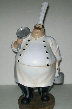 Fat Chef Bistro Chefs W Pot Frying Pan Figure Figurine Statue Kitchen Decor