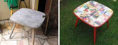Às vezes um móvel prestes a ir para o lixo pode se transformar completamente, ficando novinho em folha! Essa mesa foi pintada  e decorada com papel no tampo, através da técnica da découpage. Ficou linda, nem parece a mesma, não é?  #DIY