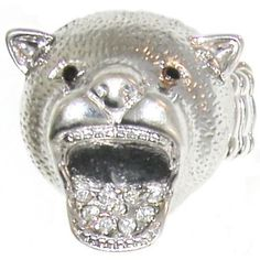 Bear Head with Open Mouth with Rhinestones, Stretch Band In Crystal with Silver Finish . $9.99