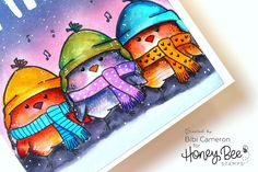 Make adorable Christmas cards with Snow Birds Stamp set by Honey Bee.