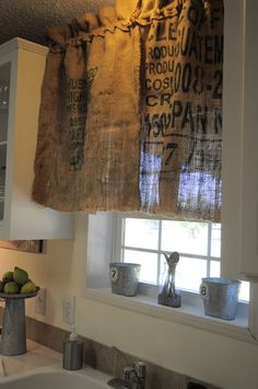 burlap sacks for curtains! So going to do this!!! I love it and I just bought a new sewing machine and have lots of burlap potato sacks