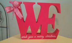 """BLOCK WOOD CUT OUT Art Graphic """"WE wish you a merry christmas"""" Bow NEW Red White #VarietyWholesalers"""