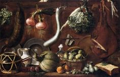 Still Life with Crockery, Fruit, Vegetables, Sausage and Ham - Jacopo Chimenti - The Athenaeum