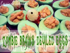 Halloween Party Food: Zombie Brains Deviled Eggs
