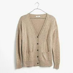 NWT - Madewell tan cardigan Marled-knit tan cardigan. Loose fit. More pics to come. Great staple. New with tags. Madewell Sweaters Cardigans