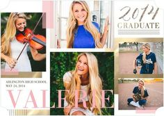 Beautifully Bright - Graduation Announcements in a cheery Rose Pink