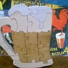 """""""santé!"""" chope de bière-puzzle en bois chantourné"""