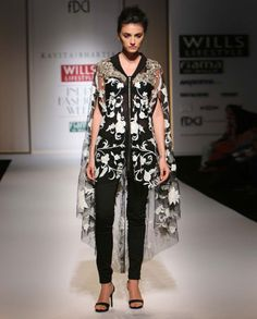 Chintz Embroidered Black High Low Cape by Kavita Bhartia, Fashion Trends, Designer Style, Indian Designs, Indian Embroidery, WIFW S/S' 15, Spring/Summer 2015 Trends, Floral Trend