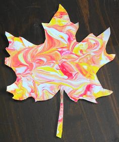 "Create marbled fall leaves with shaving cream. Valentine Hearts, Easter Eggs, Earth for Earth Day....spread shaving cream in pan about 1"" thick. Drizzle any type of paint on cream, swirl paint with a Popsicle stick. Place card stock cutout on mixture for about 10 sec. Remove, dry for five minutes and remove cream with a squeegee"