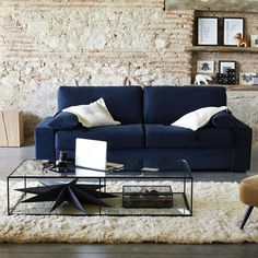 Canapé d'angle convertible coton-lin, neige Am.Pm | La Redoute Coffee Table Inspiration, Living Room Inspiration, Canapé Angle Convertible, New York Loft, Outlet, Home Staging, White Walls, Home Buying, Outdoor Sofa