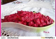 Salát z červené řepy s Nivou recept - TopRecepty.cz Bacon, Salads, Recipies, Beef, Fish, Breakfast, Ethnic Recipes, Diet, Beetroot