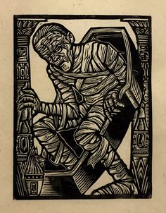 Brian Reedy ~ The Mummy ~ Woodcut, Rice Paper, 9 x 12 inch