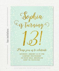 birthday party invitations teen girl mint and gold, turquoise gold glitter printable 13th birthday party invitation, chic digital invite 255 by hueinvitations on Etsy https://www.etsy.com/listing/259255035/birthday-party-invitations-teen-girl