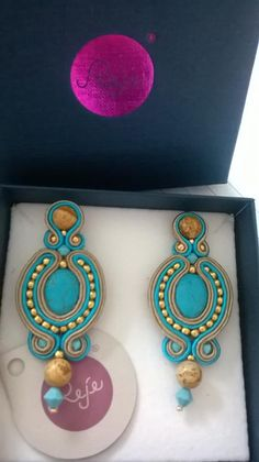 Turquoise soutache earrings, Reje creations 100% handmade in Italy