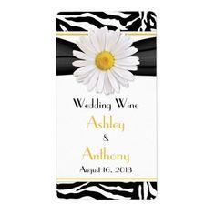 Shop Pink Daisy Zebra Print Wedding Wine Bottle Labels created by wasootch. Wedding Wine Bottles, Mini Wine Bottles, Wine Bottle Labels, Wedding Labels, Fun Wedding Invitations, Wedding Favor Tags, Zebra Wedding, Yellow Wedding, Floral Wedding