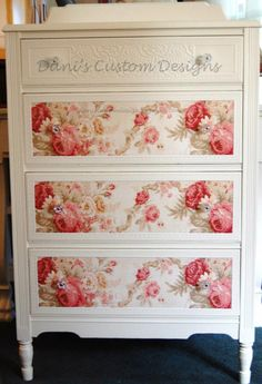 decoupage and painted chest of drawers
