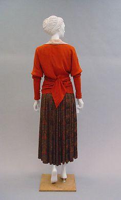 """Feuille d'automne"" Paul Poiret (French, Paris 1879–1944 Paris)  Date:     1916 Culture:     French Medium:     a, b) silk; c) fur, silk  Dimensions:     Length (c): 69 in. (175.3 cm) Length at CB (a): 24 3/4 in. (62.9 cm) Length at CB (b): 43 in. (109.2 cm) Credit Line:     Catharine Breyer Van Bomel Foundation Fund, 2005"