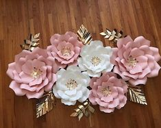 KraftyChicStudiollc on Etsy Large Flowers, Silver Flowers, Colorful Flowers, Beautiful Flowers, Paper Flower Decor, Flower Decorations, Paper Flowers, Rose Decor, Flower Template