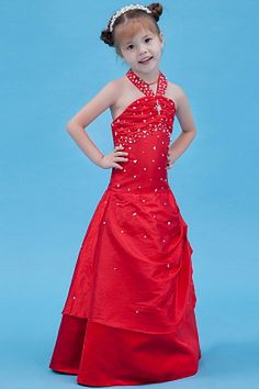 Halter Classic Red Flower Girl Dresses - Order Link: http://www.theweddingdresses.com/halter-classic-red-flower-girl-dresses-twdn1085.html - Embellishments: Beading , Crystal , Ruched , Sequin; Length: Floor Length; Fabric: Taffeta; Waist: Natural - Price: 80.05USD