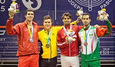 July 12 - Squash - Men's Singles. Peru's Diego Elias won silver, Colombia's Miguel A. Rodgiguez won gold, Canada's Shawn Delierre and Mexico's Cesar Salazar won bronze.
