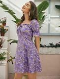 Elle mini dress – Lussoca Purple Pattern, Sweetheart Dress, Types Of Sleeves, Floral Prints, Boho, Mini, Dresses, Style, Fashion
