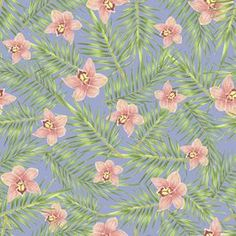 Tropical Orchid by Daniela Duarte Seamless Repeat Royalty-Free Stock Pattern Tropical Leaves, Repeat, Print Patterns, Orchids, How To Draw Hands, Royalty, Stationery, Prints, Flowers