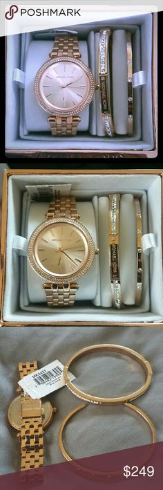 Michael Kors Mini Darci Watch and Bracelet Set Pre-owned but in excellent condition. This Michael Kors Mini Darci set is Rose Gold Toned Stainless Steel and comes with a 33 MM watch surrounded by 2 rows of swarvosky crystals. There's one open cuff bracelet with 5 white crystals and another bangle style bracelet with 14 white crystals on each side of the michael kors logo. Absolutely gorgeous. Also comes with the original tag- MK3431 and original Rose Gold Michael Kors Gift box. No missing…