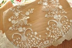 super Exquisite bridal lace trim in ivory , delicate floral embroidery lace trim, scalloped on both sides  Floral height is about 49 cm / 19.3  Perfect