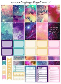 Free Printable Galaxy Planner Stickers from Counting Sheepy Planner 2018, To Do Planner, Free Planner, Planner Pages, Happy Planner, Planner Inserts, Planner Ideas, Planer Organisation, Life Organization