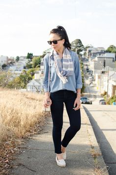 A Gap chambray as featured on the blog @Kate Ogata