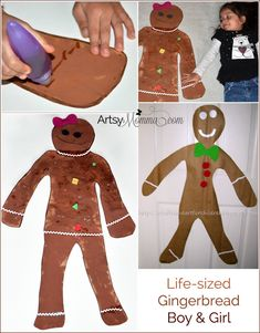 Make a life-sized gingerbread girl craft or gingerbread boy! Preschoolers will love decorating a giant cookie version of themselves! #earlylearnersacademy #creativepreschoolers