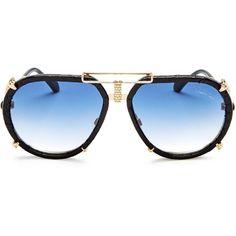 Roberto Cavalli Chiana Embellished Aviator Sunglasses, 56mm ($690) ❤ liked on Polyvore featuring accessories, eyewear, sunglasses, roberto cavalli glasses, roberto cavalli sunglasses, aviator style sunglasses, aviator sunglasses and embellished sunglasses