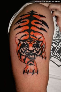 Abstract Tiger Tattoo, Inked by Sunny at Aliens Tattoo, Mumbai. This one is designed by Nick(My client), He sketched it when he was visiting couple of places in India, He had a thought of having a tattoo which will depict his visit to India. After lot of thoughts and concepts he deigned this abstract Tiger as Tiger is a national animal of India. It was ourhonor that he selected us for his first tattoo. We had goodtime and experience with him and same was with him(Nick) too. Hope you liked…
