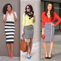 saia-lapis-listrada3 Skirt Outfits, Dress Skirt, Travel Clothes Women, Church Outfits, Stripe Skirt, Work Attire, Western Wear, Fashion Outfits, Womens Fashion