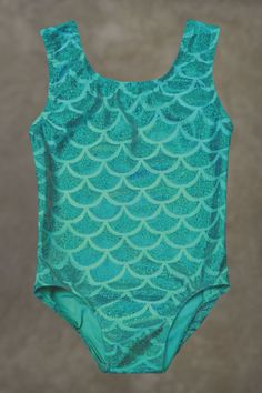 Gymnastics Leotards | Dance Leotards - Mermaid Aqua Green Seashell leotard for toddlers and girl's sizes 2T, 3T, 4,5,6,7,8,10,12 by Eastsidelights on Etsy