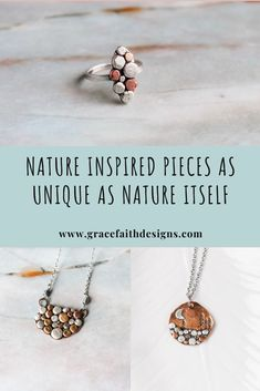 This unique collection of nature inspired jewelry features a beautiful mixed metal pebble design.