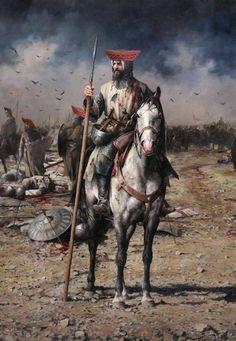 Iberian horseman c.XIII th century by Augusto Ferrer-Dalmau Medieval Knight, Medieval Armor, Medieval Fantasy, Samurai, Crusader Knight, Armadura Medieval, Templer, Knights Templar Symbols, Historical Art